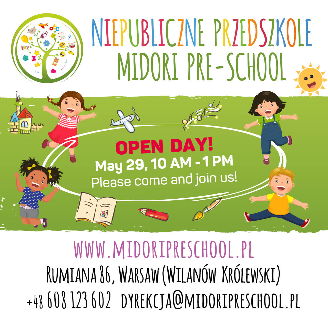 Open Day! May 29, 10 AM - 1PM. Please come and join us!
